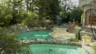 MS, Swimming pools at back of mansion, Beverly Hills, California, USA
