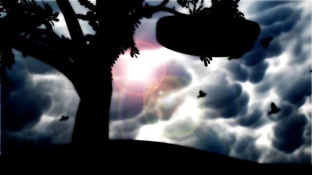 swing aus Gummi Lenkrad hängen von Baum