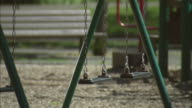 SELECTIVE FOCUS MS Swing set in public park/ Fanwood, New Jersey