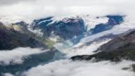 Swiss Alps and the Gorner glacier. 4K Timelapse