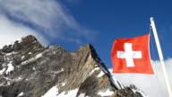 Swiss flag at Jungfraujoch, Switzerland