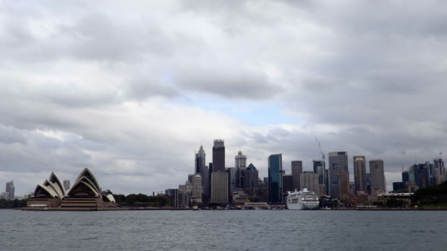 Sydney city and opera house on a cloudy day