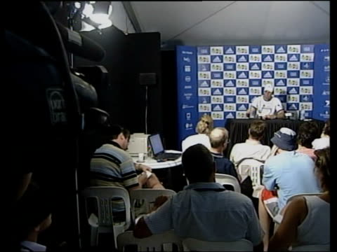Greg Rusedski wins match ITN Greg Rusedski press conference SOT this has given me a lot of pleasure lift / I want to continue to play this game i/c