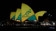 Sydney Opera House lit up in Australian colours tin support of the national rugby team the Wallabies who take on the New Zealand All Blacks in the...