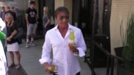 Sylvester Stallone leaves The Palm Restaurant and hypes new bottled drink in Beverly Hills at Celebrity Sightings in Los Angeles on September 23 2015...