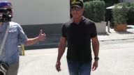 Sylvester Stallone talks about The Rambo of Iraq as he leaves Cafe Roma in Beverly Hills in Celebrity Sightings in Los Angeles