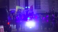 Syria airstrikes protest ***CLIP London Westminster PHOTOGRAPHY*** 'Don't Attack Syria' placards over protesters / Big Ben chimes midnight SOT /...