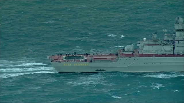 Russian warships pass through English Channel aerials ENGLISH Various AIR VIEWs / AERIALs Russian aircraft carrier Admiral Kuznetsov sailing through...