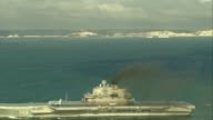 Russian warships pass through English Channel on way to Syria ENGLISH Port of Dover PULL OUT Russian aircraft carrier Admiral Kuznetsov AIR VIEW /...