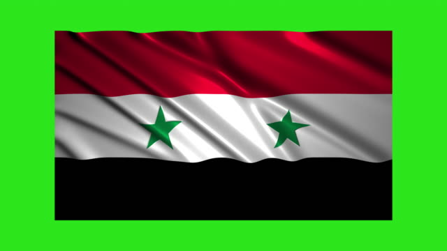 Syria flag waving,loopable on green screen