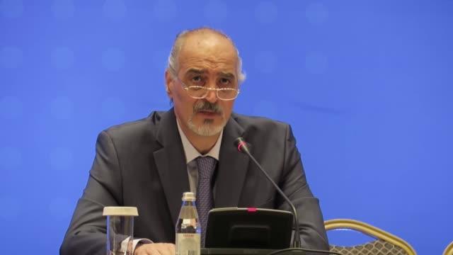 Syrian chief negotiator and Ambassador of the Permanent Representative Mission of Syria to the United Nations Bashar alJaafari briefs the media...