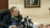 Syrian minister denies use of tanks and artillery in Homs INT Faisal Mekdad press conference SOT We have suffered great human losses [ie soldiers]...