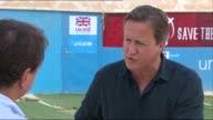 David Cameron interview JORDAN Zaatari Refugee Camp EXT David Cameron MP interview SOT