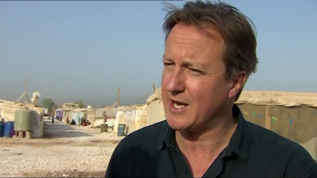 David Cameron visits refugee camp LEBANON Bekaa Valley EXT David Cameron MP interview SOT On visiting refugee camp / British help and funding /...