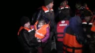 Syrian refugees are rescued by Turkish fishermen while they were illegally trying to reach Greece through the Aegean Sea in Didim district of Aydin...