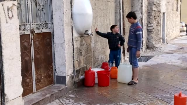 Syrians in Aleppo suffer from water shortage due to clashes between regime forces and armed opponent groups in Syria on 23 October 2014 It is...