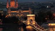 MS ZO WS Szechenyi Chain Bridge over Danube River at night, Budapest, Hungary