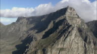 AERIAL Table Mountain and cable car station, Cape Town, Western Cape, South Africa