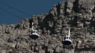 WS LA Table Mountain cable cars moving past each other, Cape Town, Western Cape, South Africa