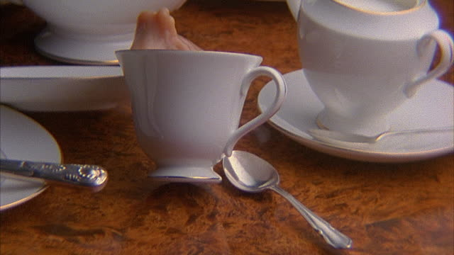SLO MO, CU, Tablecloth being pulled from under crockery