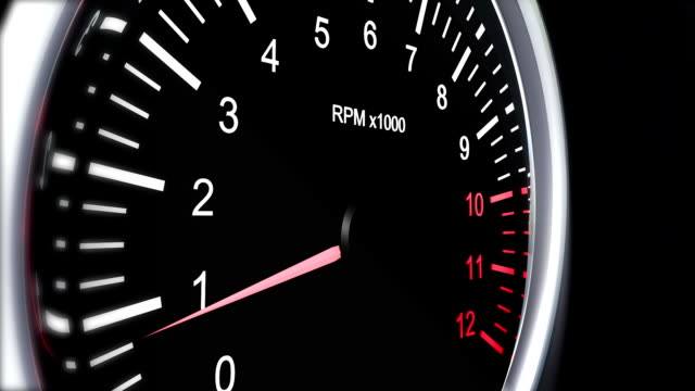 tachometer of a sports car that accelerates to full speed