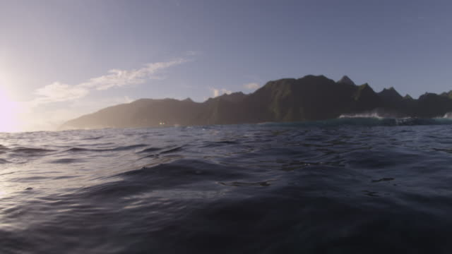 POV Tahitian mountains from the water