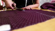 HD: Tailor Cutting Textile For A Dress