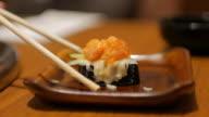 Take a Sushi at japanese restaurant