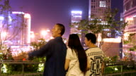 Take parents travel in city,looking at city night