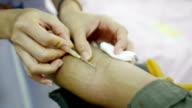 taking blood