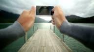Fotograferen met een mobiele telefoon. POV