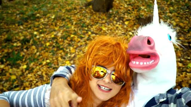 Taking selfie with unicorn