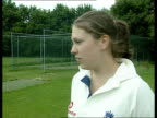 BEN MCCARTHY Cricketer Laura Harper along LA Spin bowler Harper bowling in the nets Laura Harper interview SOT Talks of playing with boys teams...