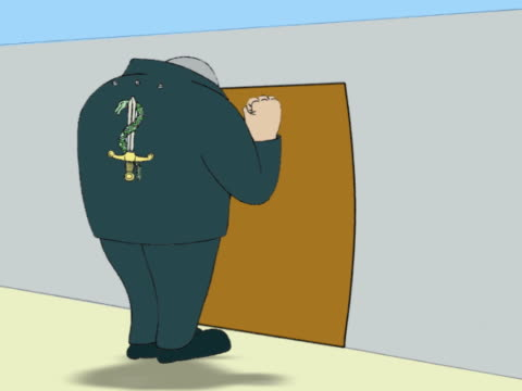 Tall Man Knocking on a Securely Locked Door