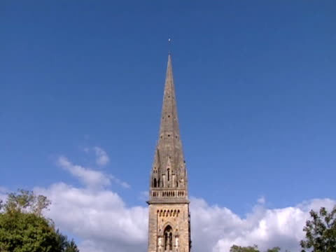A tall spire decorates Llandaff Cathedral.