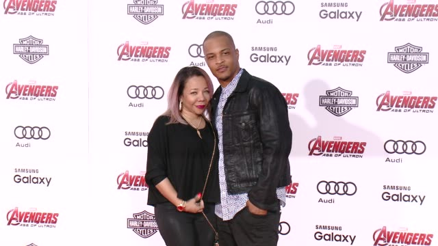 Tameka 'Tiny' CottleHarris and Clifford Joseph 'TI' Harris Jr at The World Premiere of Marvel's 'Avengers Age of Ultron' at Dolby Theatre on April 13...
