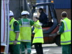 Staffordshire Tamworth Ambulance arriving to join others at industrial estate where workers were overcome by fumes after chemical spill PAN Emergency...