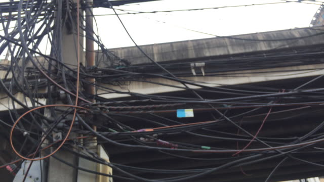 Tangle of telephone, electric and cable wires