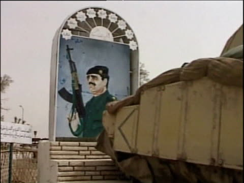 US tank hits Saddam Hussein monument and moves over it Mar 02