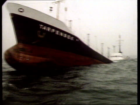 Tanker and ship collide in Channel AT SEA/ OFF SUSSEX COAST TRACK 'Tarpenbek' bow and port side CS Damaged ships PULL OUT partially submerged Some...