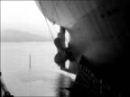 Tanker 'British Valour' launched by Lady Dorothy Macmillan ENGLAND Wallsend on Tyne Tanker on slipway / Low Angle sot of tanker with 'British Valour'...