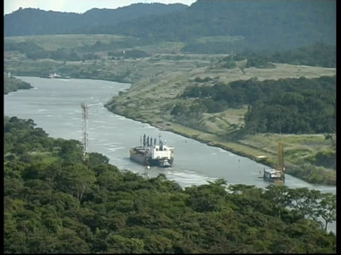 Tanker passing in the panama canal, WA, Panama, Central America