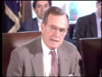 / tanks next to roadway in Iraq / Saddam Hussein at desk / President George Bush speaking to press about economic sanctions against Iraq / Saddam...