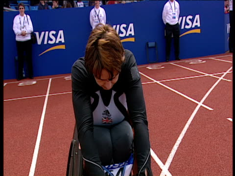 Tanni GreyThompson lines up at start of Women's T53 100m Final Paralympic World Cup Manchester Regional Arena 2005