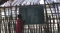 Tanzania, Ngorongoro conservation area (NCA), Masai children singing in a wooden classroom
