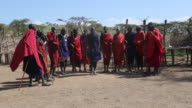 Tanzania,Ngorongoro conservation area (NCA),Masai men performing high jumps