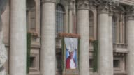 A tapestry featuring the portrait of beatified John Paul II is unveiled The Beatification of Pope John Paul II at Saint Peter's Square on May 01 2011...