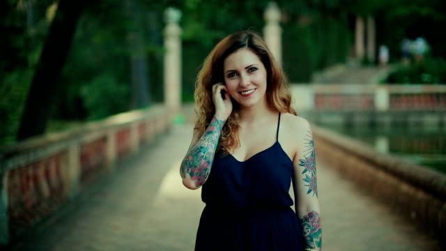 Tattoed rebel woman video portrait