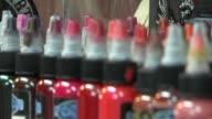 KTXL Tattoo Ink Bottles On Shelf on June 29 2012 in Sacramento California