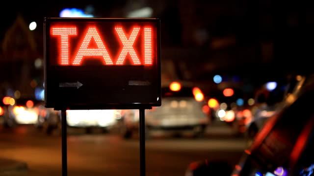 Taxi and city lights in Bangkok Thailand